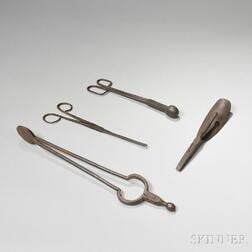 Two Wrought Iron Hair Curlers, Shoehorn/Pliers, and Ember Tongs