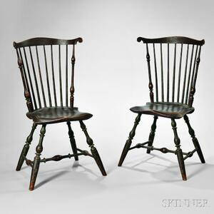 Fine Pair of Painted Fan-back Windsor Side Chairs