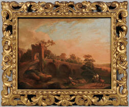 Italian School, 19th Century      Landscape with Figures Crossing an Arched Stone Bridge