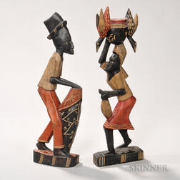 Two Carved and Painted Figures