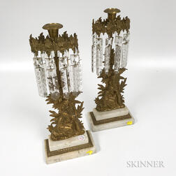 Pair of Brass and Cut Glass Figural Girandoles