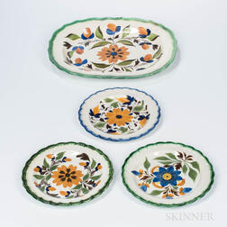 Four Floral Decorated Pearlware Table Items