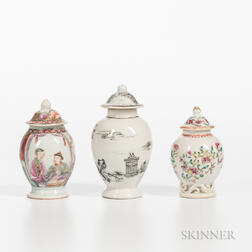 Three Polychrome-decorated Export Porcelain Jars