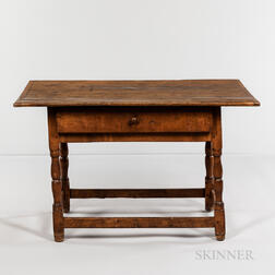 Applewood and Pine Tavern Table with Drawer