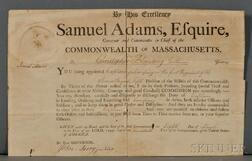 Adams, Samuel (1722-1803) Signed Military Commission, 8 March 1796.