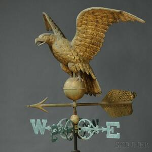 Large Gilt Molded Copper Eagle and Arrow Weathervane and Cast Copper Directionals