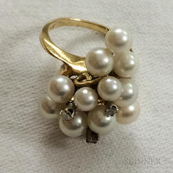 14kt Gold, Pearl, and Diamond Cluster Ring
