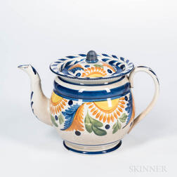 Polychrome Decorated Pearlware Teapot