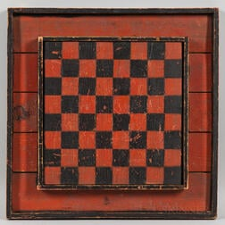 Red and Black-painted Paneled Checkers Game Board