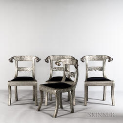Four Anglo-Indian Repousse Ram's-head Armchairs