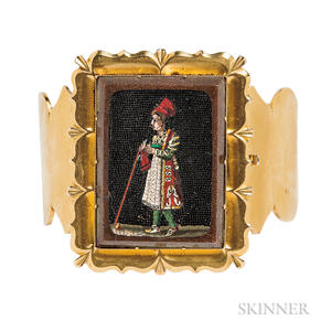 Antique Gold and Micromosaic Bangle