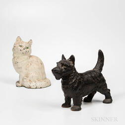 Cast Iron Cat and Dog Doorstops