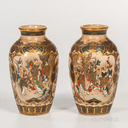 Pair of Small Satsuma Vases