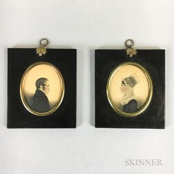Pair of Miniature Watercolor Portraits of John and Catherine Mason