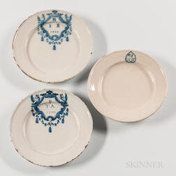 Three Dated Tin-glazed Earthenware Plates