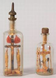 Two Polychrome Painted Carved Religious Bottle Whimsies