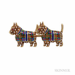 14kt Gold and Enamel Terrier Brooch, Sloan & Co.
