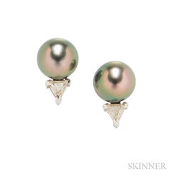 18kt White Gold, Tahitian Pearl, and Diamond Earstuds