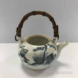 Blue and White Teapot with Bamboo Handle