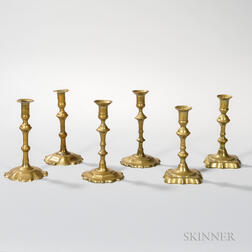 Three Pairs of Brass Candlesticks