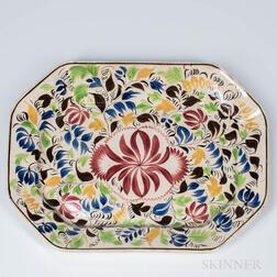 Coxcomb- and Rose-decorated Spatterware Platter