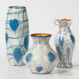 Three Imperial Hearts and Vine Art Glass Vases