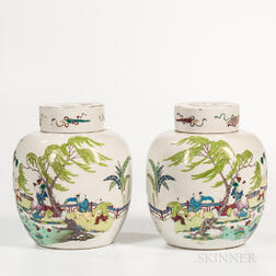 Pair of Fencai Ginger Jars and Covers