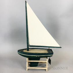 Painted Wood Model of a Sailboat