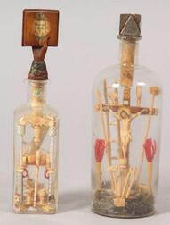 Two Carved Wooden Bottle Whimseys