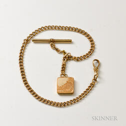 Antique Gold-filled Watch Chain and Fob