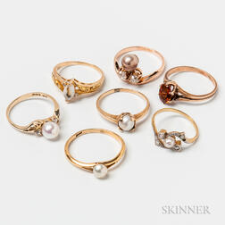 Six Gold and Cultured Pearl Rings
