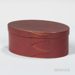 Small Red-painted Oval Shaker Pantry Box