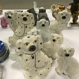 Four Pairs of Staffordshire Ceramic Spaniels