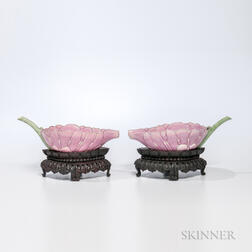 Pair of Famille Rose Lotus Water Droppers