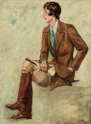 James Montgomery Flagg (American, 1877-1960)      Portrait of a Woman in Riding Attire, Said to be Dame Edith Sitwell