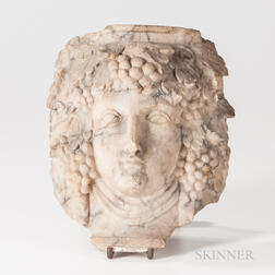 Carved Marble Bacchus Head Fragment