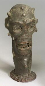 African Hide Covered Wood Headdress