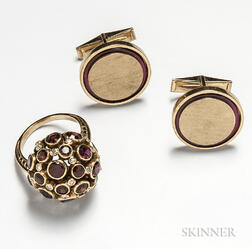14kt Gold, Garnet, and Diamond Cluster Ring and a Pair of 14kt Gold Cuff Links