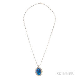 14kt White Gold, Black Opal, and Diamond Pendant