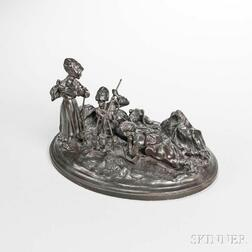 After Alexei Petrovitch Grachev (Russian, 1780-1850)       Bronze Figural Group of a Cossack Encampment