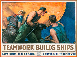 Framed William Dodge Stevens Teamwork Builds Ships   Poster