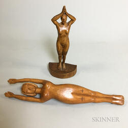 Two Carved Wood Nude Figures