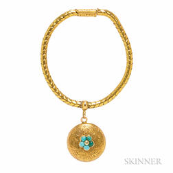 Antique Gold and Turquoise Bracelet