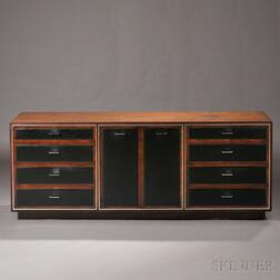Mid-century Modern Walnut, Leather, and Metal Credenza
