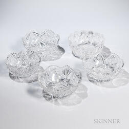 Five American Colorless Cut Glass Bowls