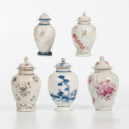 Five Polychrome-decorated Export Porcelain Jars