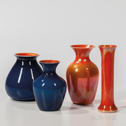 Four Imperial Art Glass Vases