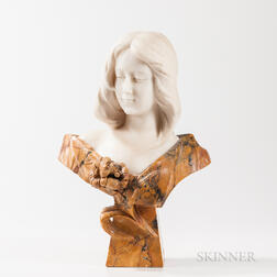Alabaster and Marble Bust of Maiden