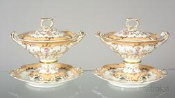 Pair of  Ridgway Porcelain Covered Sauce Tureens and Stands