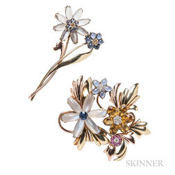 Two Retro 14kt Gold Gem-set Flower Brooches